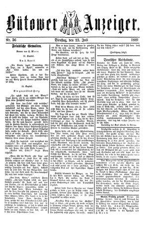 Bütower Anzeiger vom 23.07.1889