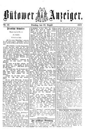 Bütower Anzeiger vom 27.08.1889