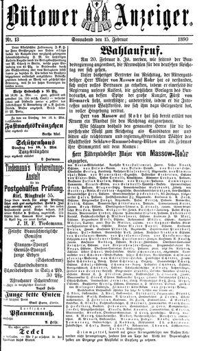 Bütower Anzeiger vom 15.02.1890