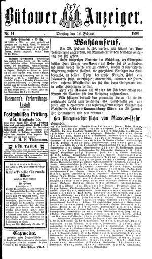 Bütower Anzeiger vom 18.02.1890