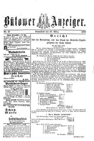 Bütower Anzeiger on Mar 29, 1890