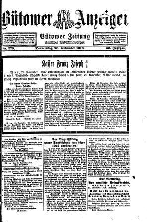 Bütower Anzeiger vom 23.11.1916