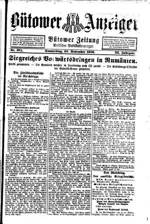 Bütower Anzeiger vom 30.11.1916