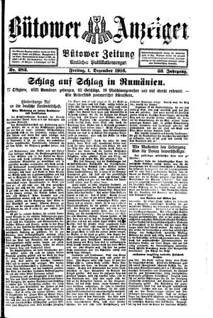 Bütower Anzeiger vom 01.12.1916