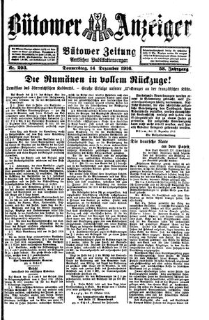 Bütower Anzeiger vom 14.12.1916