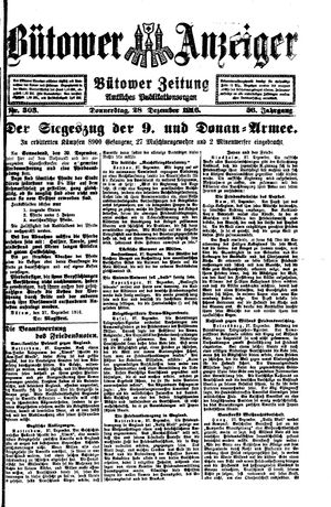 Bütower Anzeiger vom 28.12.1916