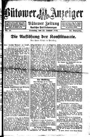 Bütower Anzeiger vom 22.01.1918