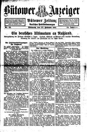 Bütower Anzeiger vom 27.02.1918