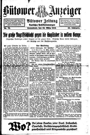 Bütower Anzeiger vom 23.03.1918