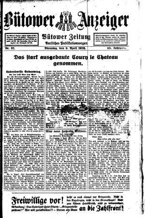 Bütower Anzeiger vom 09.04.1918