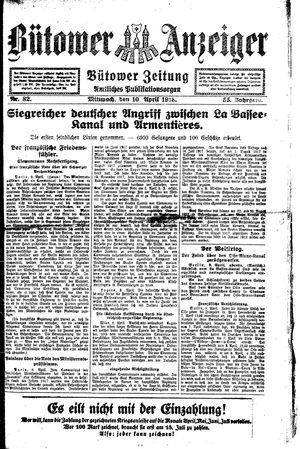 Bütower Anzeiger vom 10.04.1918