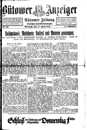 Bütower Anzeiger on Apr 17, 1918