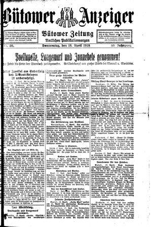 Bütower Anzeiger on Apr 18, 1918