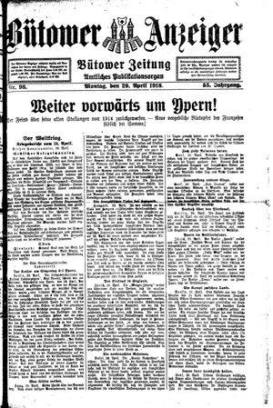 Bütower Anzeiger vom 29.04.1918