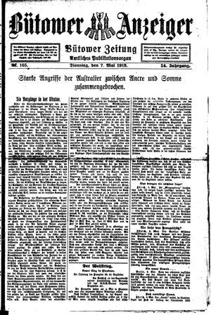 Bütower Anzeiger on May 7, 1918