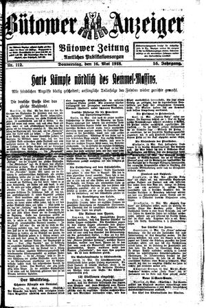 Bütower Anzeiger on May 16, 1918