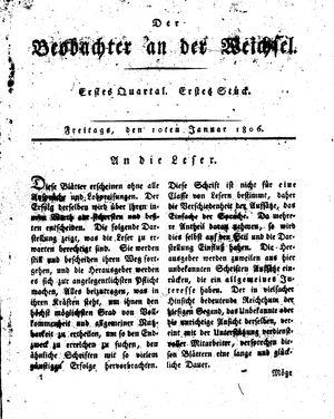 ˜Derœ Beobachter an der Weichsel vom 10.01.1806
