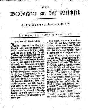 ˜Derœ Beobachter an der Weichsel vom 24.01.1806