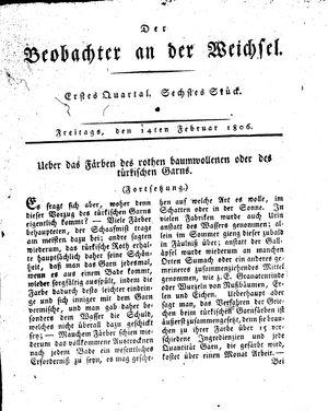 ˜Derœ Beobachter an der Weichsel vom 14.02.1806