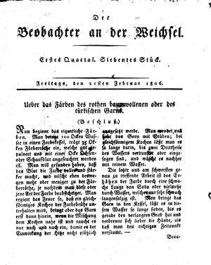 ˜Derœ Beobachter an der Weichsel vom 21.02.1806