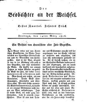 ˜Derœ Beobachter an der Weichsel vom 14.03.1806