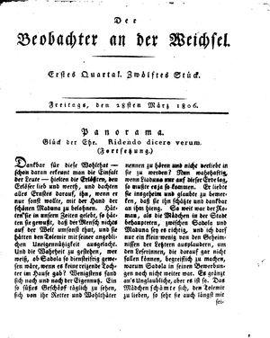 ˜Derœ Beobachter an der Weichsel vom 28.03.1806