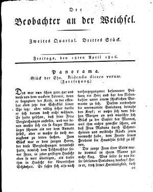 ˜Derœ Beobachter an der Weichsel vom 18.04.1806