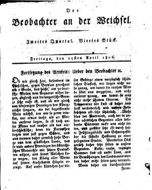 ˜Derœ Beobachter an der Weichsel vom 25.04.1806