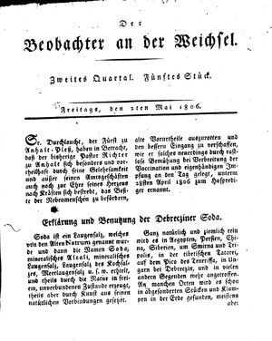 ˜Derœ Beobachter an der Weichsel vom 02.05.1806