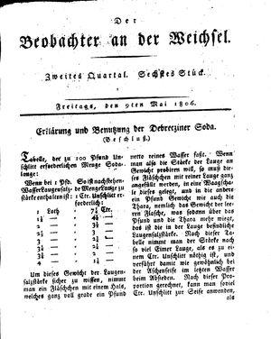 ˜Derœ Beobachter an der Weichsel vom 09.05.1806