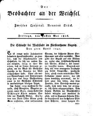 ˜Derœ Beobachter an der Weichsel vom 30.05.1806
