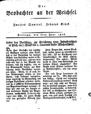 ˜Derœ Beobachter an der Weichsel vom 06.06.1806