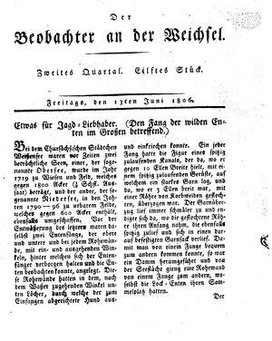 ˜Derœ Beobachter an der Weichsel vom 13.06.1806