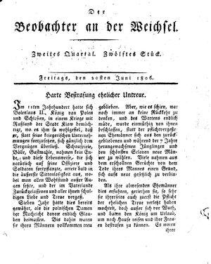 ˜Derœ Beobachter an der Weichsel vom 20.06.1806
