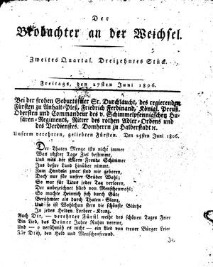 ˜Derœ Beobachter an der Weichsel vom 27.06.1806