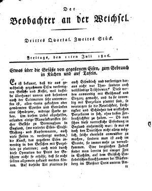 ˜Derœ Beobachter an der Weichsel vom 11.07.1806