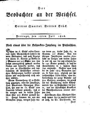 ˜Derœ Beobachter an der Weichsel vom 18.07.1806