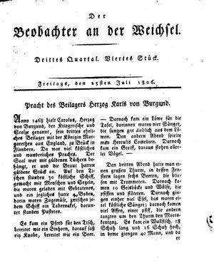 ˜Derœ Beobachter an der Weichsel vom 25.07.1806