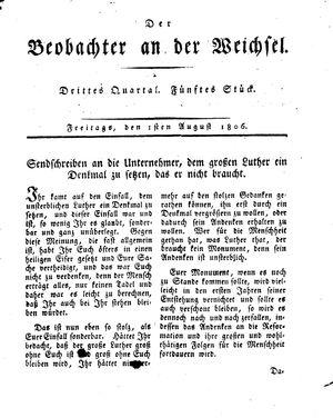 ˜Derœ Beobachter an der Weichsel vom 01.08.1806