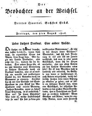 ˜Derœ Beobachter an der Weichsel vom 08.08.1806