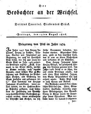 ˜Derœ Beobachter an der Weichsel on Aug 15, 1806