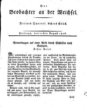 ˜Derœ Beobachter an der Weichsel vom 22.08.1806