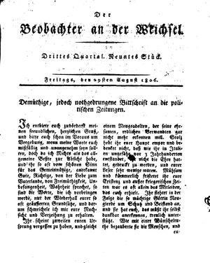 ˜Derœ Beobachter an der Weichsel vom 29.08.1806