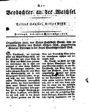 ˜Derœ Beobachter an der Weichsel vom 12.09.1806