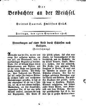 ˜Derœ Beobachter an der Weichsel vom 19.09.1806
