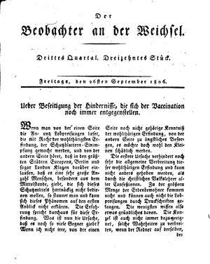 ˜Derœ Beobachter an der Weichsel vom 26.09.1806