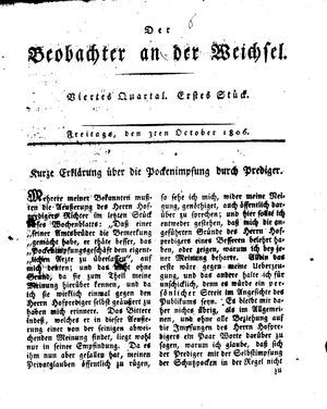 ˜Derœ Beobachter an der Weichsel vom 03.10.1806