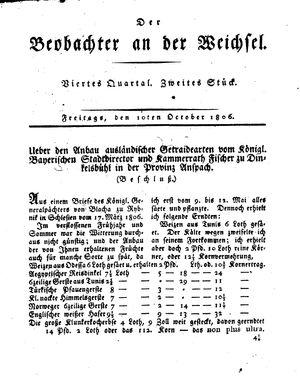 ˜Derœ Beobachter an der Weichsel vom 10.10.1806