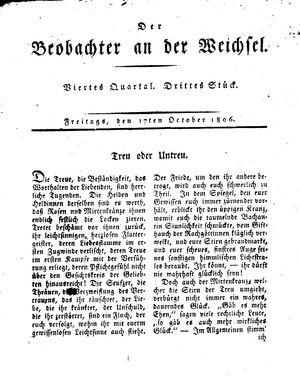 ˜Derœ Beobachter an der Weichsel vom 17.10.1806