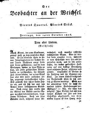 ˜Derœ Beobachter an der Weichsel vom 24.10.1806